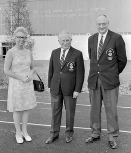 Joan Scruton MBE (Secretary General of the International Stoke Mandeville Games Federation), Poppa, Charlie Atkinson MBE (Technical Director of the International Stoke Mandeville Games Federation)