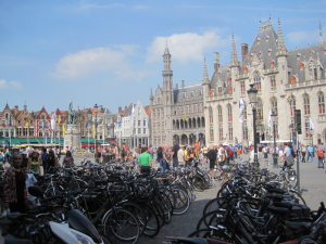 Bicycles parked in the main square in Bruges