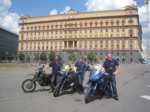 Our 3 riders in front of Lubyanka ...
