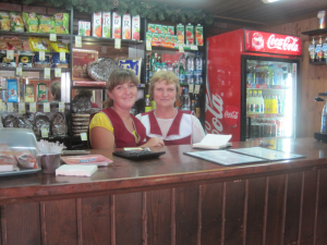 Two friendly ladies in a Russian road side cafe